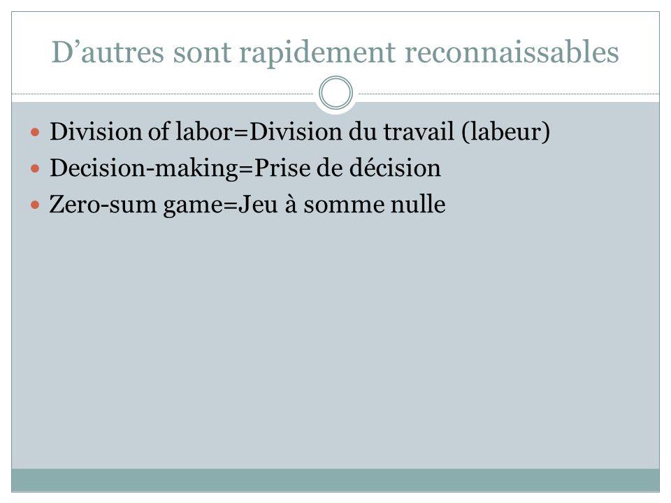 Dautres sont rapidement reconnaissables Division of labor=Division du travail (labeur) Decision-making=Prise de décision Zero-sum game=Jeu à somme nulle