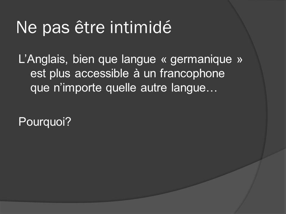 Une grande parenté lexicale De 1066 à la fin du Xvème siècle, 10 000 mots français sont devenus des mots anglais Ce vocabulaire français se retrouve à tous les niveaux de la langue (gouvernement, art, littérature, etc.) 1/3 des mots anglais actuels dérivent directement ou indirectement du français.