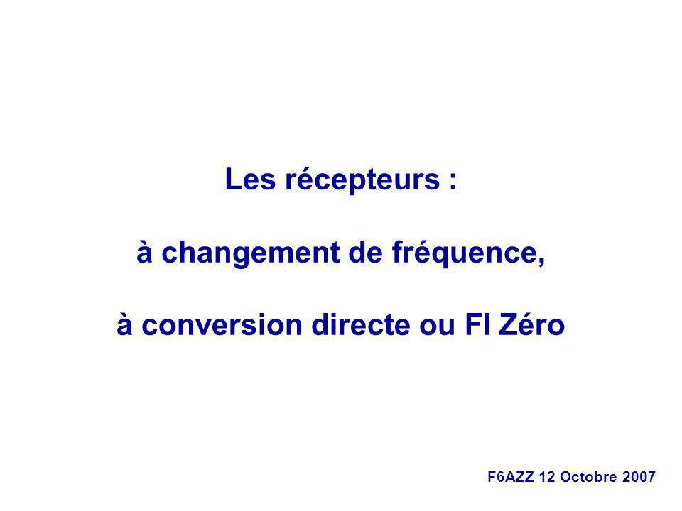 F6AZZ 12 Octobre 2007 Les récepteurs : à changement de fréquence, à conversion directe ou FI Zéro