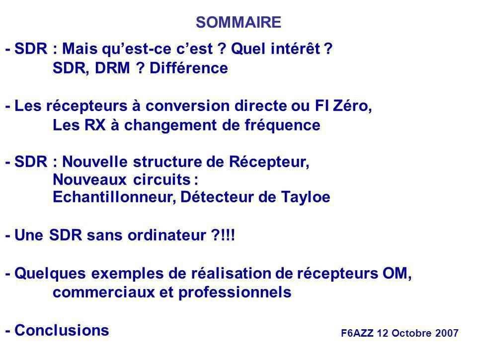 F6AZZ 12 Octobre 2007 - SDR : Mais quest-ce cest ? Quel intérêt ? SDR, DRM ? Différence - Les récepteurs à conversion directe ou FI Zéro, Les RX à cha