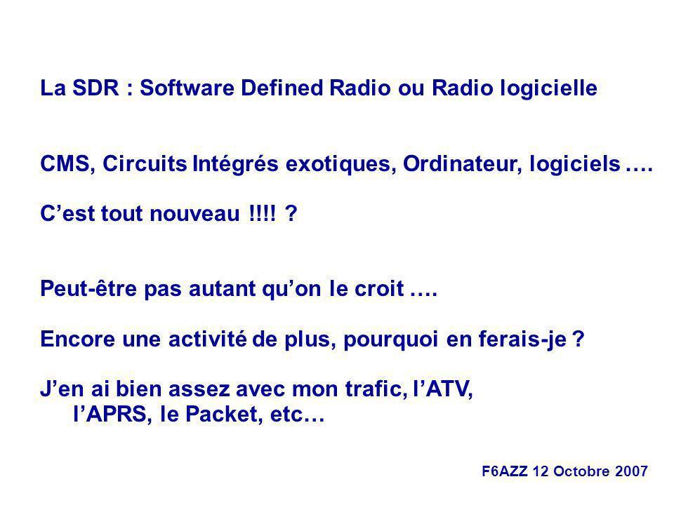 F6AZZ 12 Octobre 2007 La SDR : Software Defined Radio ou Radio logicielle CMS, Circuits Intégrés exotiques, Ordinateur, logiciels …. Cest tout nouveau