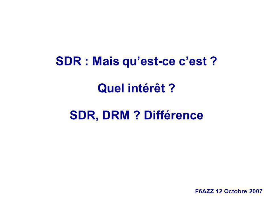 F6AZZ 12 Octobre 2007 Radio logicielle http://fr.wikipedia.org/wiki/Radio_logicielle En anglais : Software Radio ou Software Defined Radio (SDR).