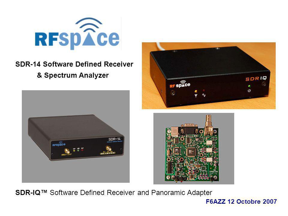SDR-14 Software Defined Receiver & Spectrum Analyzer SDR-IQ Software Defined Receiver and Panoramic Adapter