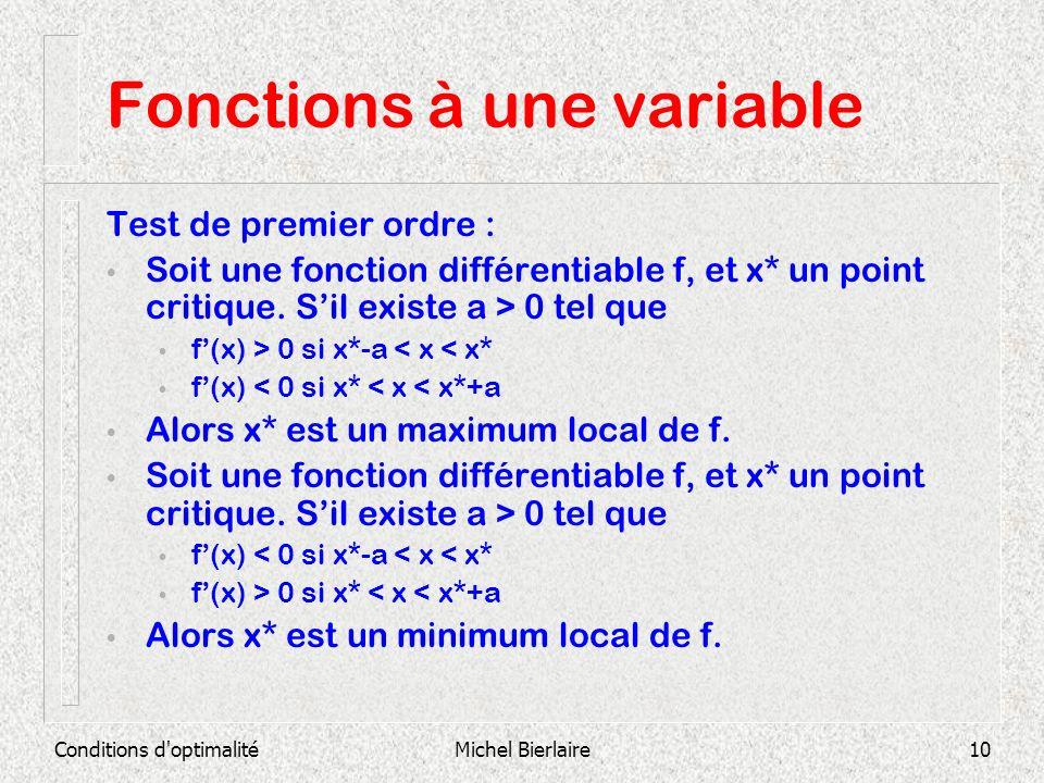 Conditions d'optimalitéMichel Bierlaire10 Fonctions à une variable Test de premier ordre : Soit une fonction différentiable f, et x* un point critique