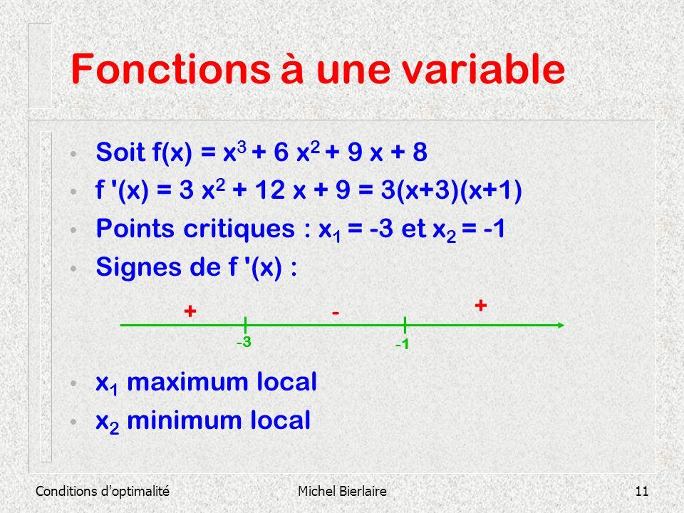 Conditions d'optimalitéMichel Bierlaire11 Fonctions à une variable Soit f(x) = x 3 + 6 x 2 + 9 x + 8 f '(x) = 3 x 2 + 12 x + 9 = 3(x+3)(x+1) Points cr