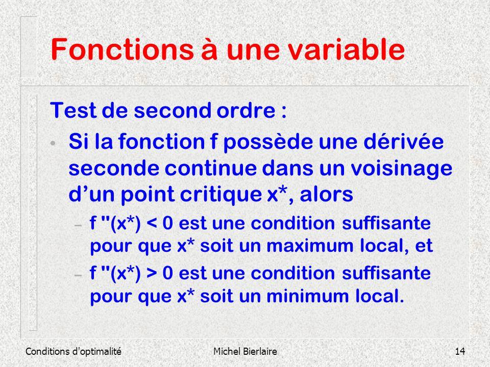 Conditions d'optimalitéMichel Bierlaire14 Fonctions à une variable Test de second ordre : Si la fonction f possède une dérivée seconde continue dans u