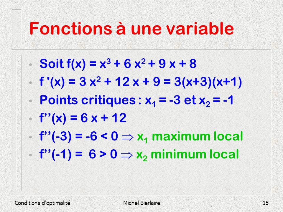 Conditions d'optimalitéMichel Bierlaire15 Fonctions à une variable Soit f(x) = x 3 + 6 x 2 + 9 x + 8 f '(x) = 3 x 2 + 12 x + 9 = 3(x+3)(x+1) Points cr