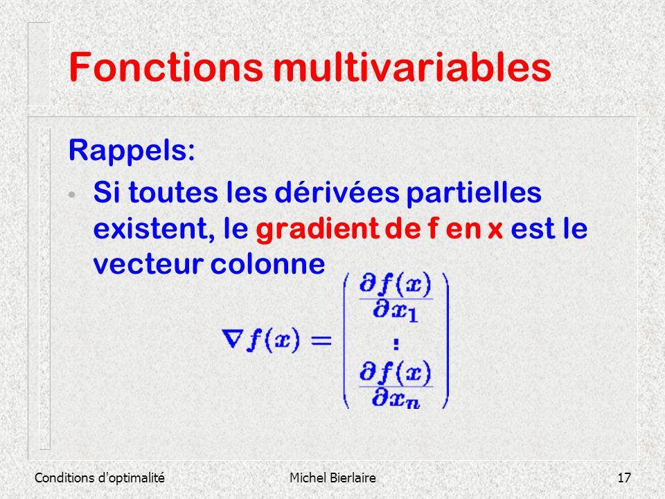 Conditions d'optimalitéMichel Bierlaire17 Fonctions multivariables Rappels: Si toutes les dérivées partielles existent, le gradient de f en x est le v