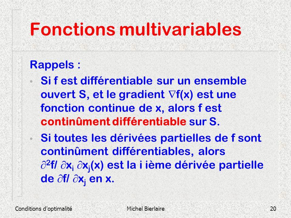 Conditions d'optimalitéMichel Bierlaire20 Fonctions multivariables Rappels : Si f est différentiable sur un ensemble ouvert S, et le gradient f(x) est