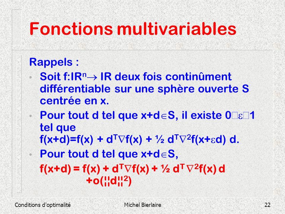 Conditions d'optimalitéMichel Bierlaire22 Fonctions multivariables Rappels : Soit f:IR n IR deux fois continûment différentiable sur une sphère ouvert