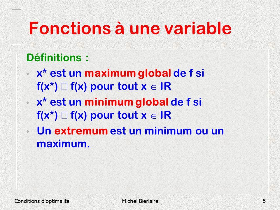 Conditions d optimalitéMichel Bierlaire16 Fonctions multivariables Rappels : Soit f : IR n IR : (x 1,…,x n ) T f(x 1,…,x n ) Si la limite existe, elle est appelée la i ième dérivée partielle de f.