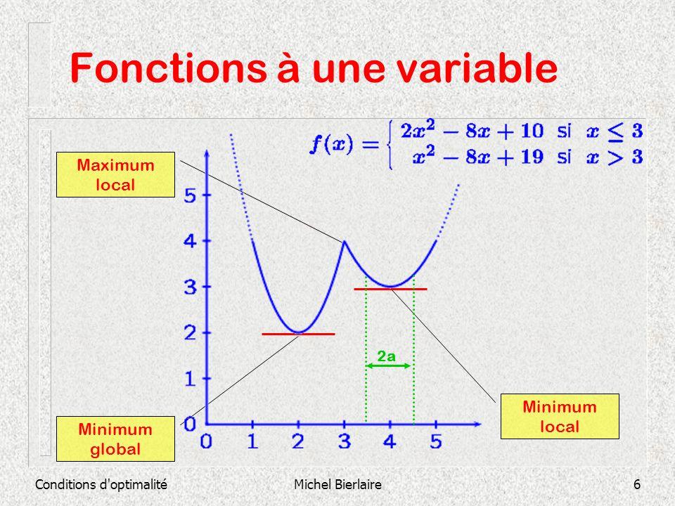 Conditions d optimalitéMichel Bierlaire7 Fonctions à une variable Définition : Un point x où la tangente est horizontale, cest-à-dire tel que f(x)=0, est appelé un point critique ou point stationnaire.