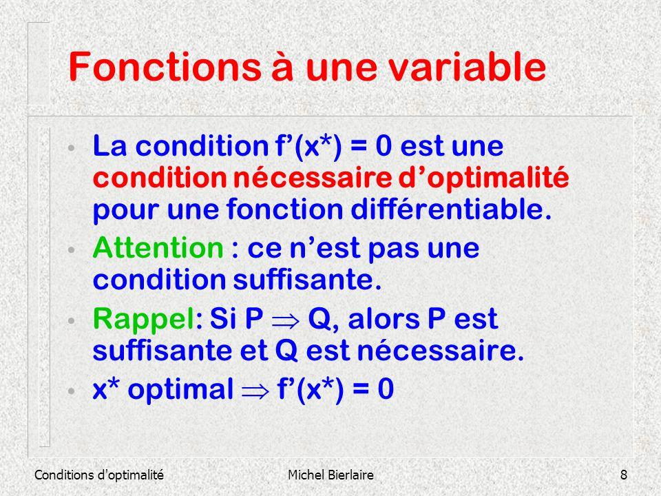 Conditions d'optimalitéMichel Bierlaire8 Fonctions à une variable La condition f(x*) = 0 est une condition nécessaire doptimalité pour une fonction di