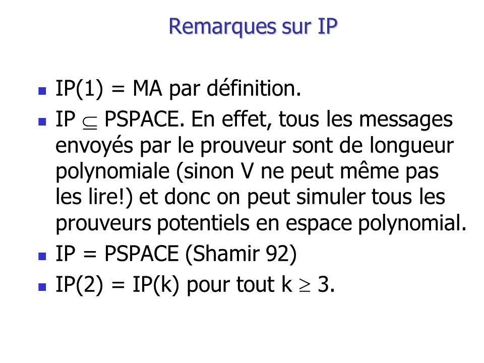 Remarques sur IP IP(1) = MA par définition. IP PSPACE. En effet, tous les messages envoyés par le prouveur sont de longueur polynomiale (sinon V ne pe