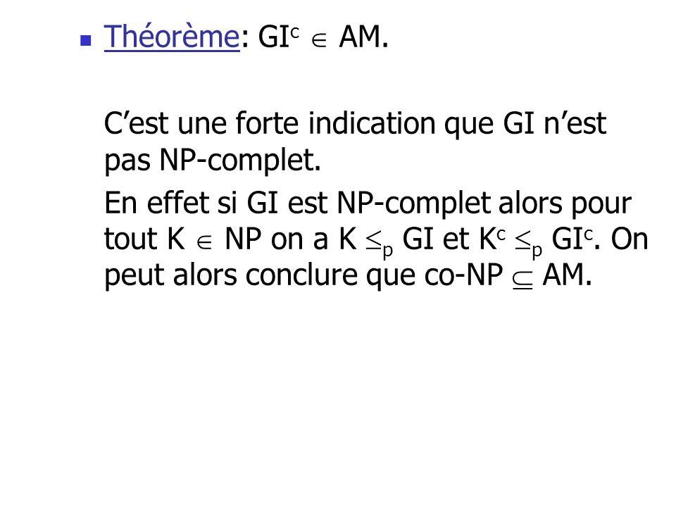 Théorème: GI c AM. Cest une forte indication que GI nest pas NP-complet. En effet si GI est NP-complet alors pour tout K NP on a K p GI et K c p GI c.