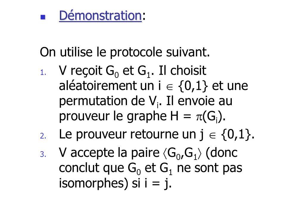 Démonstration Démonstration: On utilise le protocole suivant. 1. V reçoit G 0 et G 1. Il choisit aléatoirement un i {0,1} et une permutation de V i. I