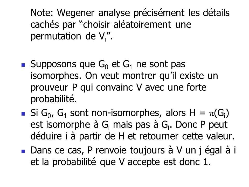Note: Wegener analyse précisément les détails cachés par choisir aléatoirement une permutation de V i. Supposons que G 0 et G 1 ne sont pas isomorphes