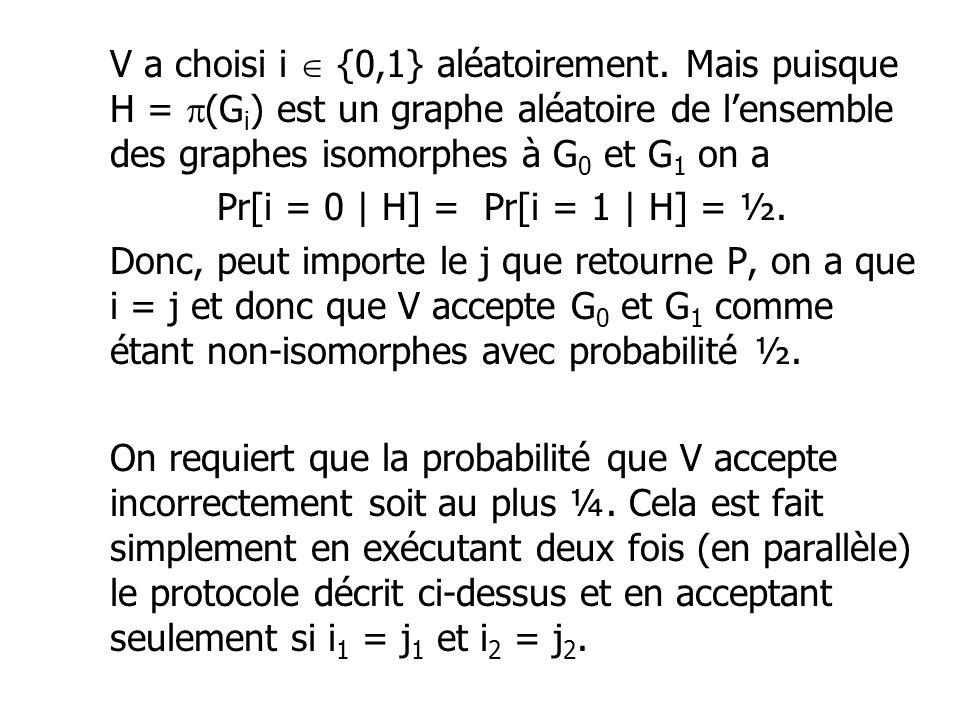 V a choisi i {0,1} aléatoirement. Mais puisque H = (G i ) est un graphe aléatoire de lensemble des graphes isomorphes à G 0 et G 1 on a Pr[i = 0 | H]