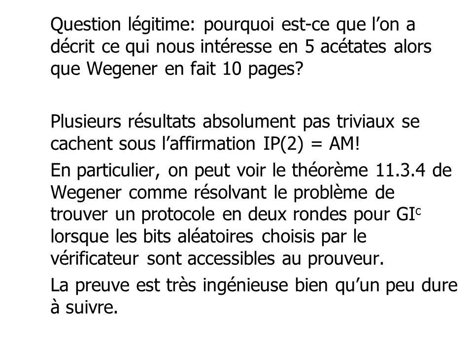 Question légitime: pourquoi est-ce que lon a décrit ce qui nous intéresse en 5 acétates alors que Wegener en fait 10 pages? Plusieurs résultats absolu