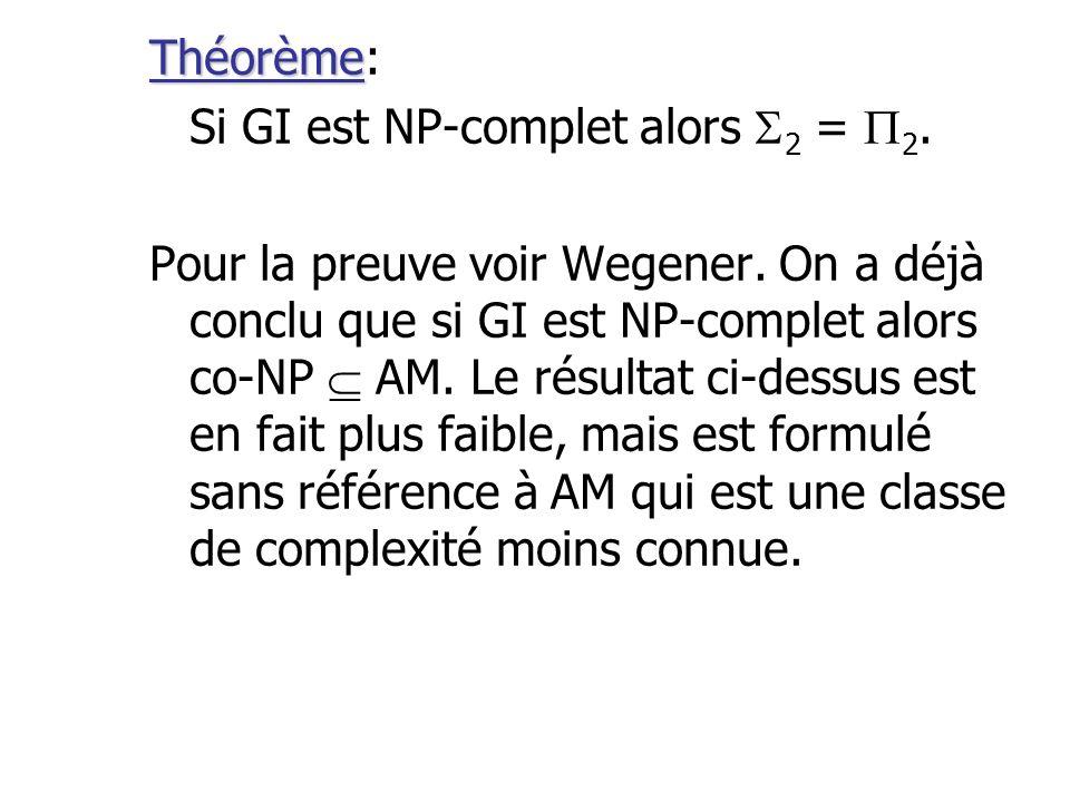 Théorème Théorème: Si GI est NP-complet alors 2 = 2. Pour la preuve voir Wegener. On a déjà conclu que si GI est NP-complet alors co-NP AM. Le résulta