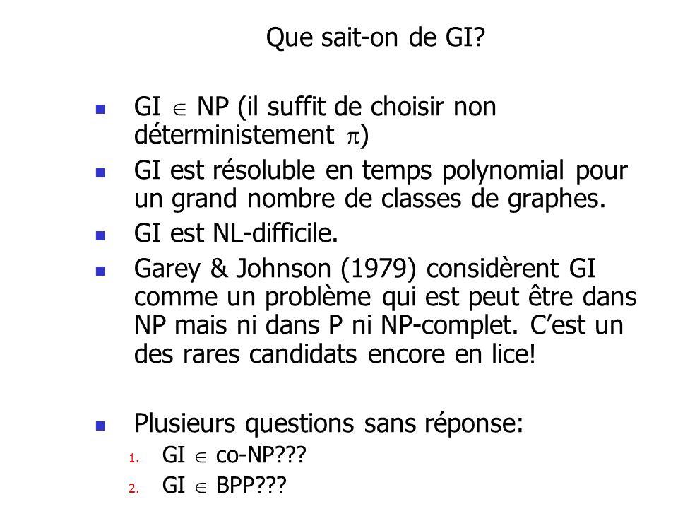Que sait-on de GI? GI NP (il suffit de choisir non déterministement ) GI est résoluble en temps polynomial pour un grand nombre de classes de graphes.