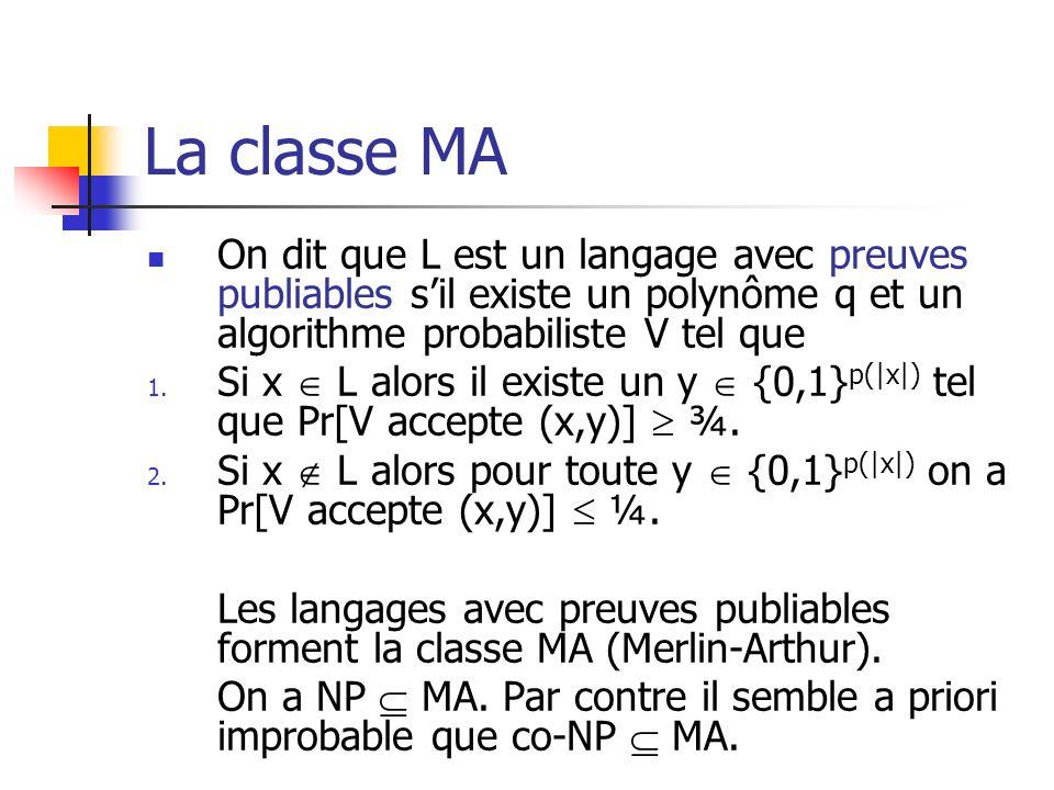 La classe MA On dit que L est un langage avec preuves publiables sil existe un polynôme q et un algorithme probabiliste V tel que 1. Si x L alors il e
