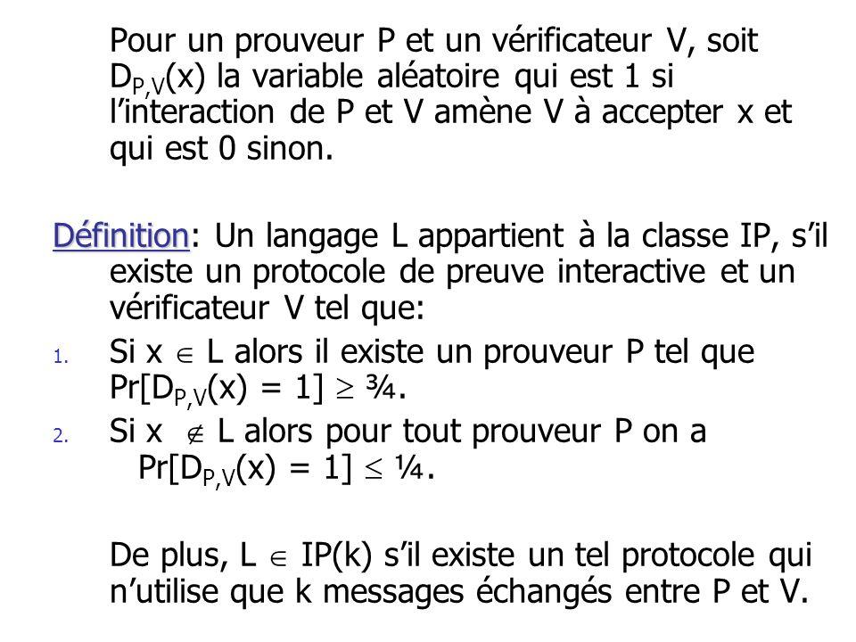 Remarques sur IP IP(1) = MA par définition.IP PSPACE.