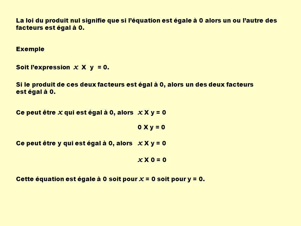 La loi du produit nul signifie que si léquation est égale à 0 alors un ou lautre des facteurs est égal à 0. Exemple Soit lexpression x X y = 0. Si le