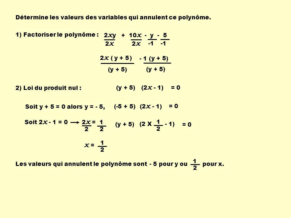 - 1 ( ) Détermine les valeurs des variables qui annulent ce polynôme. 2 x y + 10 x - y - 5 2 x ( ) y + 5 y + 5 (y + 5) (2 x - 1) (y + 5) 1) Factoriser