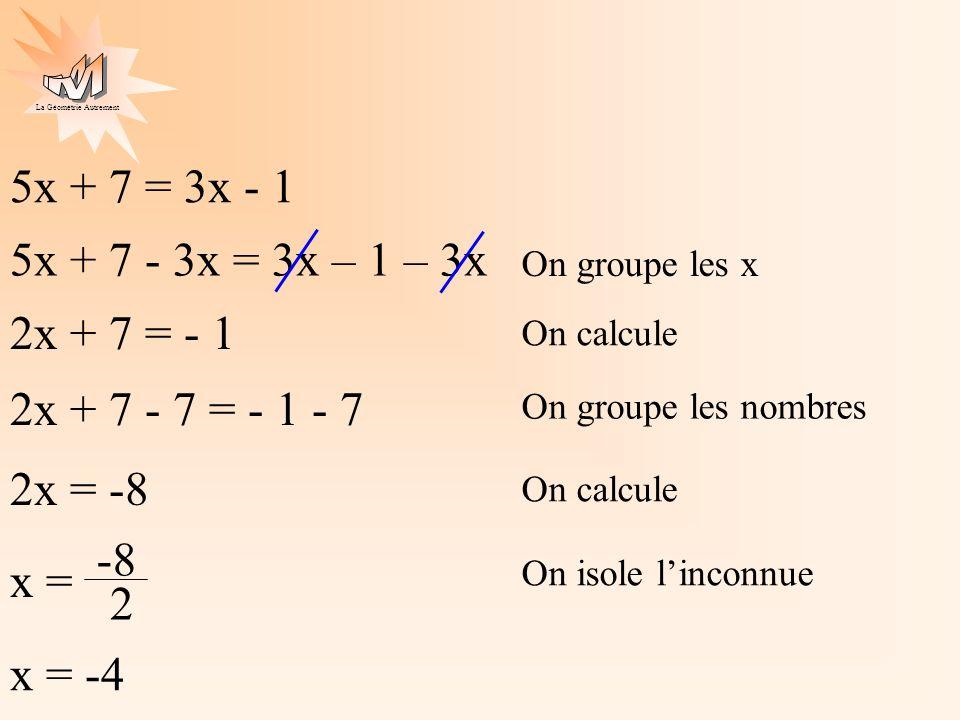 La Géométrie Autrement 5x + 7 = 3x - 1 2x + 7 = - 1 2x = -8 x = -8 2 x = -4 On groupe les x On calcule On groupe les nombres 5x + 7 - 3x = 3x – 1 – 3x