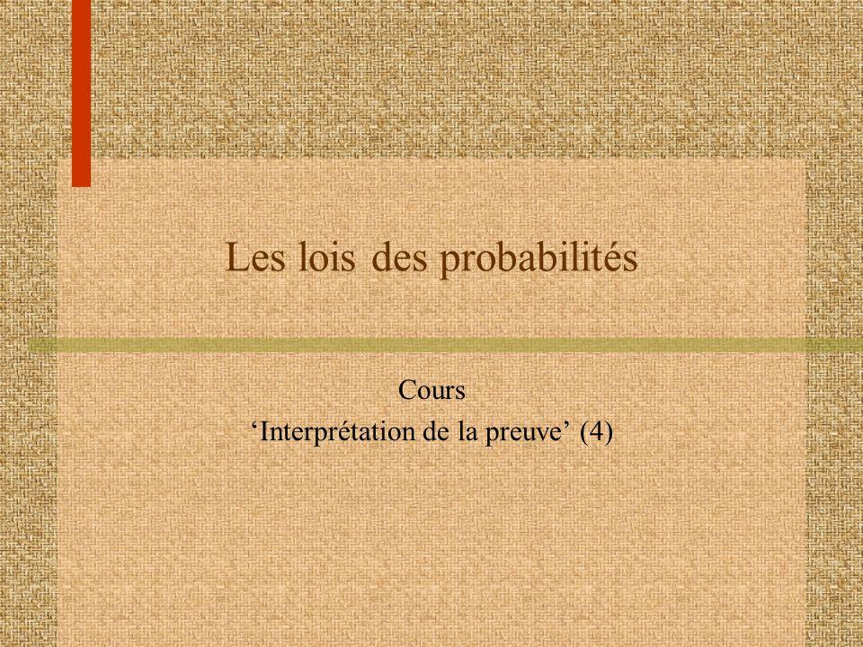Les lois des probabilités Les lois des probabilités décrivent les valeurs que les probabilités peuvent prendre ainsi que la façon avec laquelle elles se combinent.