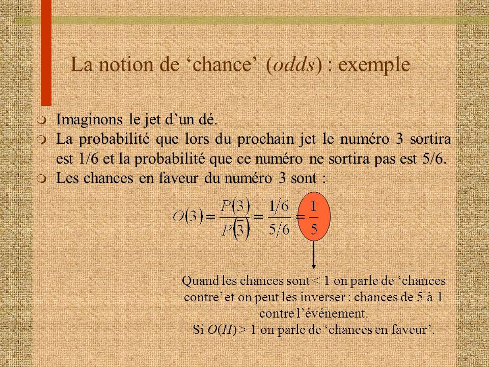 La notion de chance (odds) : exemple m Imaginons le jet dun dé. m La probabilité que lors du prochain jet le numéro 3 sortira est 1/6 et la probabilit