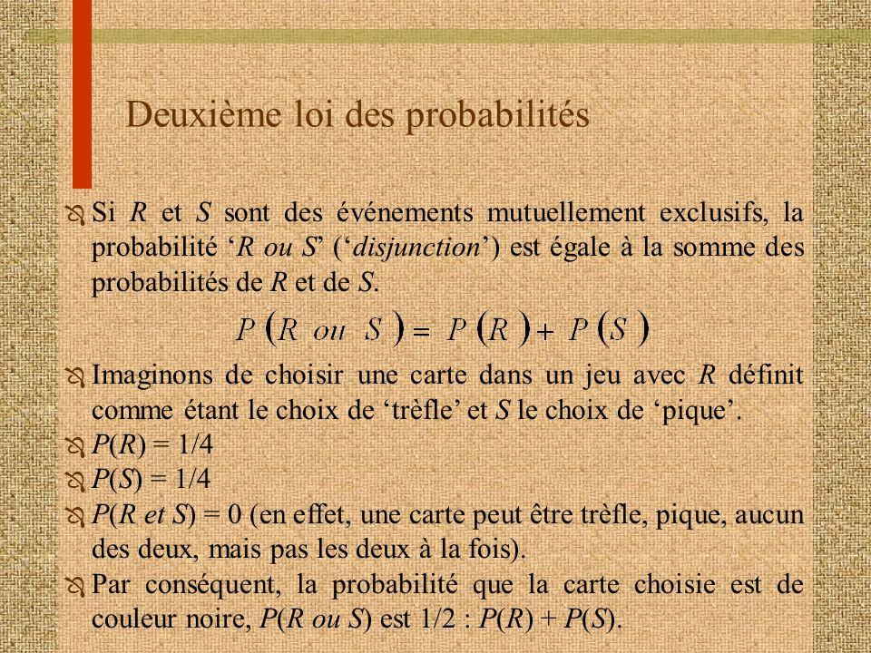 Deuxième loi des probabilités Ô Si R et S sont des événements mutuellement exclusifs, la probabilité R ou S (disjunction) est égale à la somme des pro