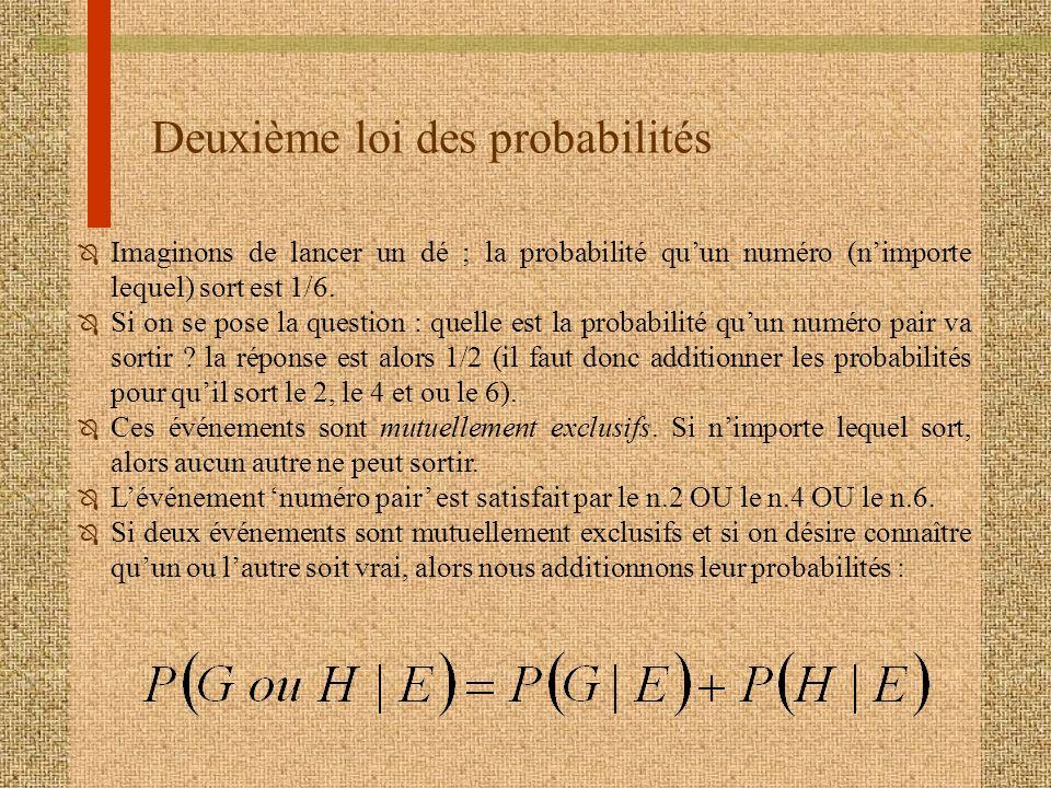 Deuxième loi des probabilités Ô Imaginons de lancer un dé ; la probabilité quun numéro (nimporte lequel) sort est 1/6. Ô Si on se pose la question : q