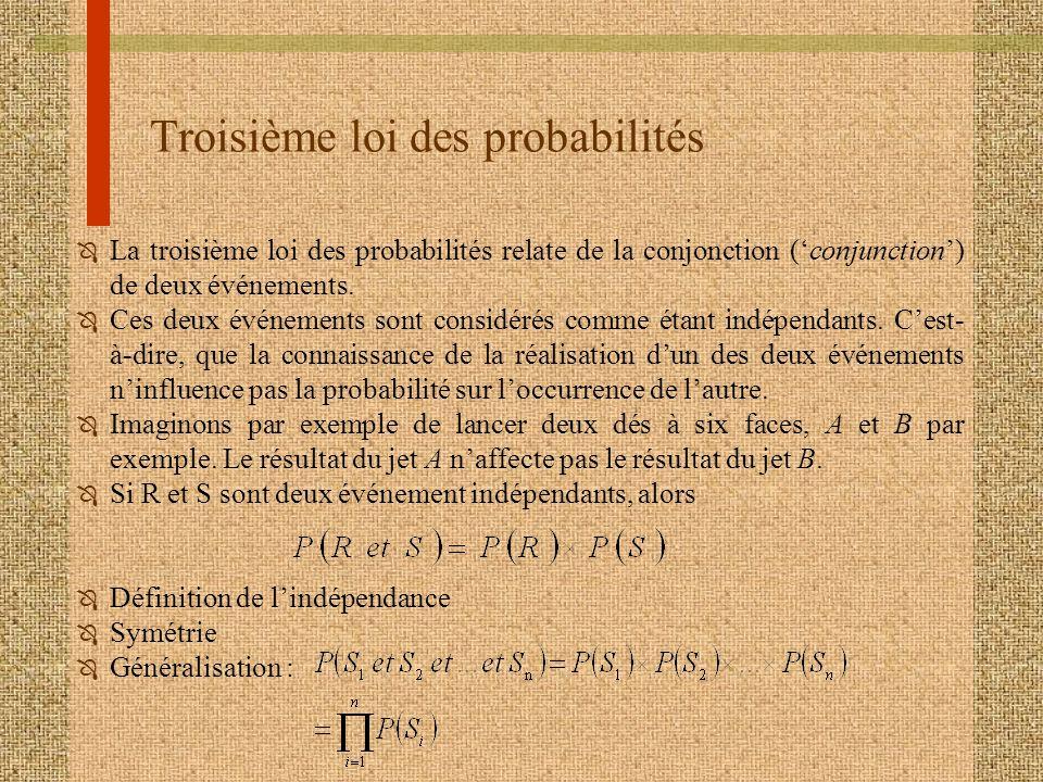 Troisième loi des probabilités Ô La troisième loi des probabilités relate de la conjonction (conjunction) de deux événements. Ô Ces deux événements so