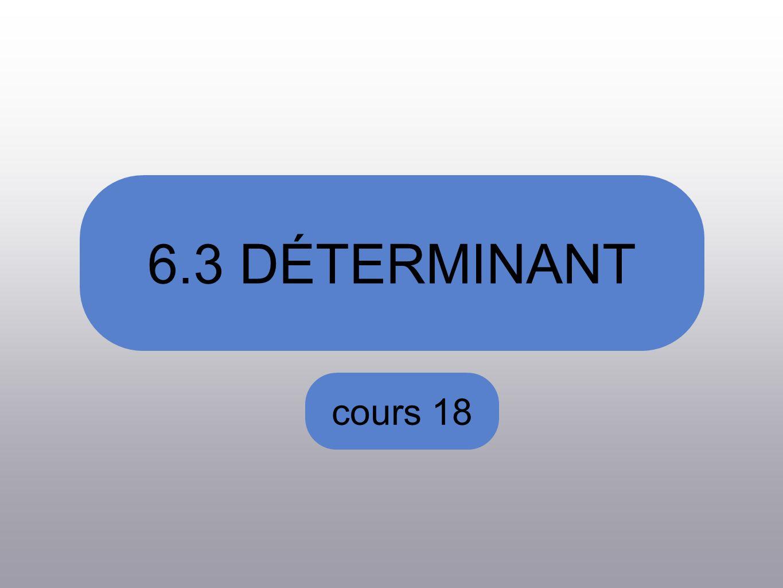 cours 18 6.3 DÉTERMINANT