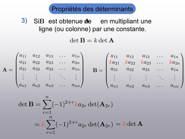 Si est obtenue de en multipliant une ligne (ou colonne) par une constante. 3) Propriétés des déterminants