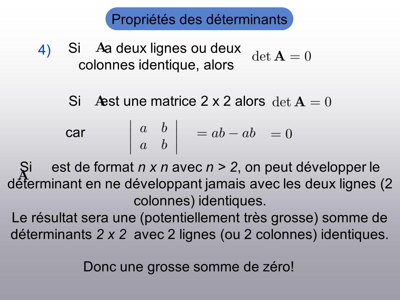 Si a deux lignes ou deux colonnes identique, alors Si est une matrice 2 x 2 alors car 4) Si est de format n x n avec n > 2, on peut développer le déterminant en ne développant jamais avec les deux lignes (2 colonnes) identiques.