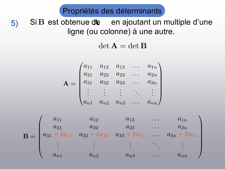 Si est obtenue de en ajoutant un multiple dune ligne (ou colonne) à une autre. 5) Propriétés des déterminants