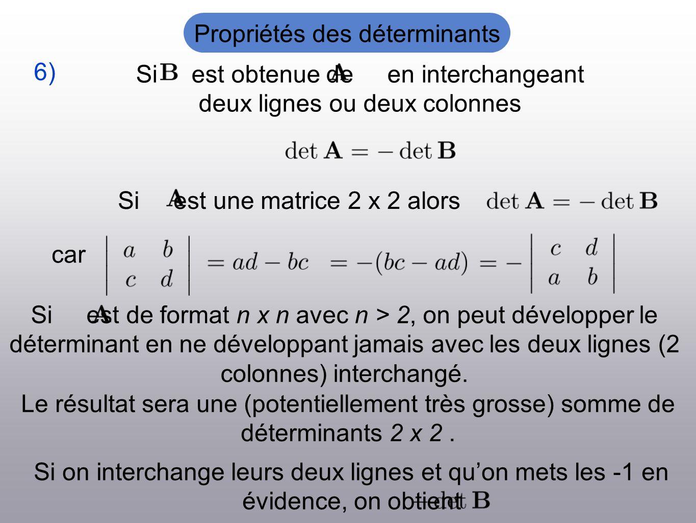 Si est obtenue de en interchangeant deux lignes ou deux colonnes 6) Si est une matrice 2 x 2 alors car Le résultat sera une (potentiellement très grosse) somme de déterminants 2 x 2.