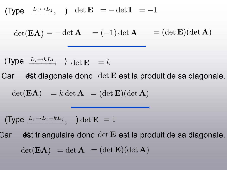 (Type ) Car est diagonale donc est la produit de sa diagonale. Car est triangulaire donc est la produit de sa diagonale.