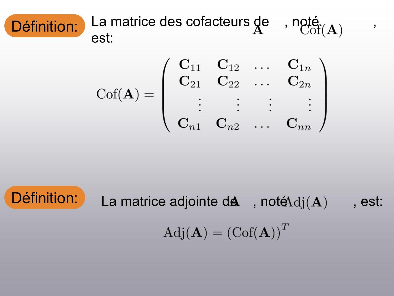 Définition: La matrice adjointe de, noté, est: La matrice des cofacteurs de, noté, est: Définition: