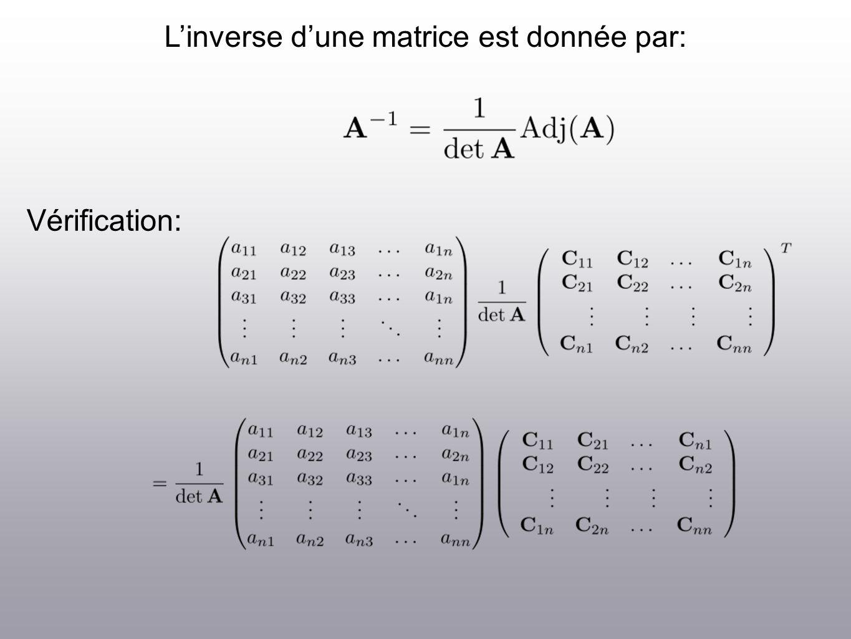 Linverse dune matrice est donnée par: Vérification: