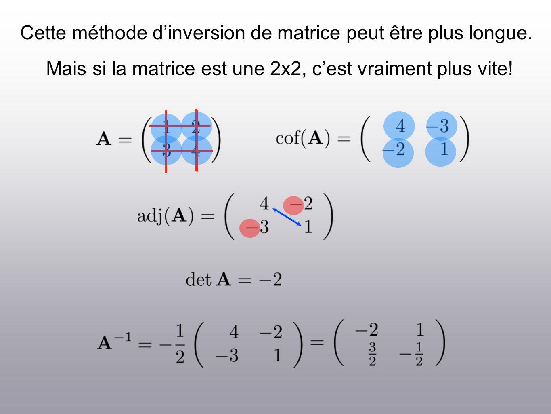 Cette méthode dinversion de matrice peut être plus longue. Mais si la matrice est une 2x2, cest vraiment plus vite!