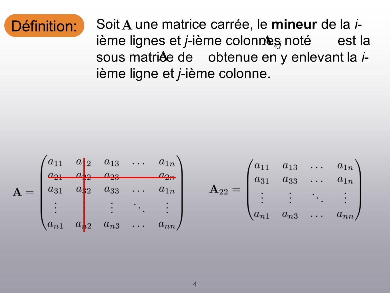 Définition: 4 Soit une matrice carrée, le mineur de la i- ième lignes et j-ième colonnes noté est la sous matrice de obtenue en y enlevant la i- ième ligne et j-ième colonne.
