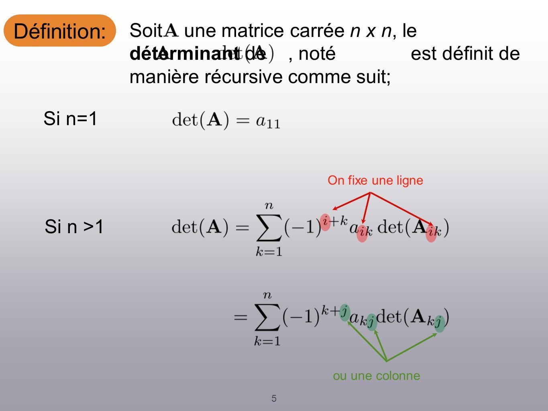 Définition: 5 Soit une matrice carrée n x n, le déterminant de, noté est définit de manière récursive comme suit; On fixe une ligne ou une colonne Si n=1 Si n >1