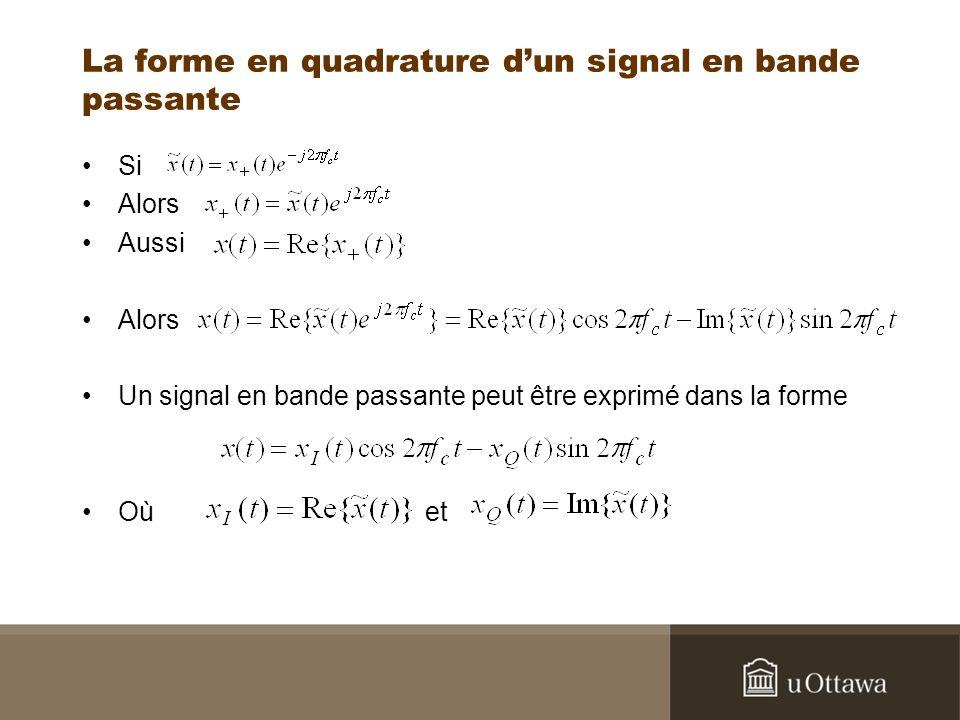 La forme en quadrature dun signal en bande passante Si Alors Aussi Alors Un signal en bande passante peut être exprimé dans la forme Où et