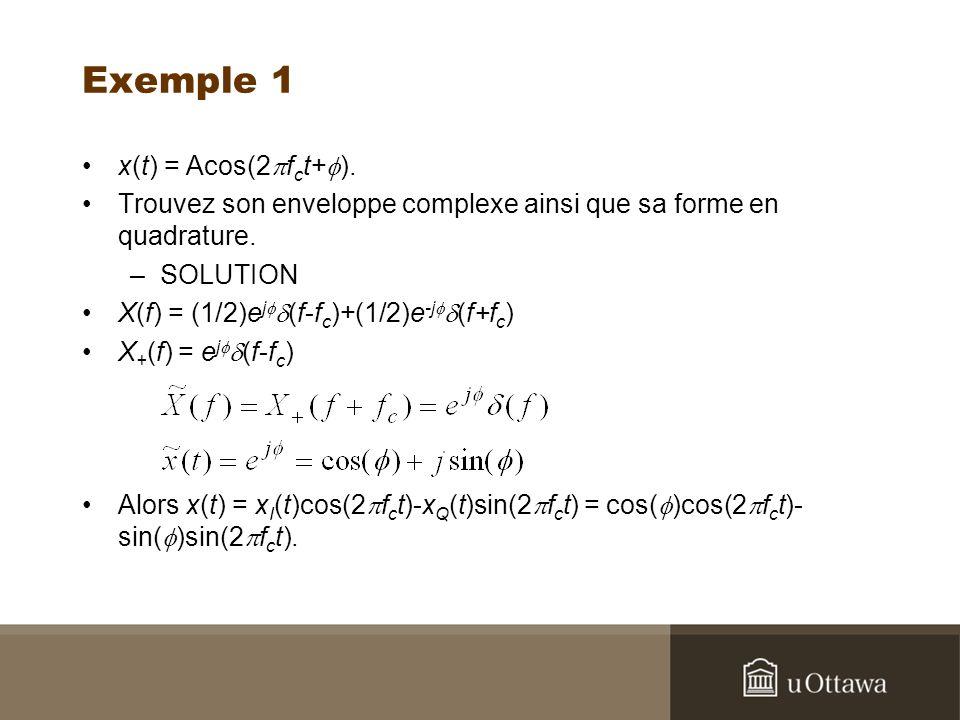 Exemple 1 x(t) = Acos(2 f c t+ ).Trouvez son enveloppe complexe ainsi que sa forme en quadrature.
