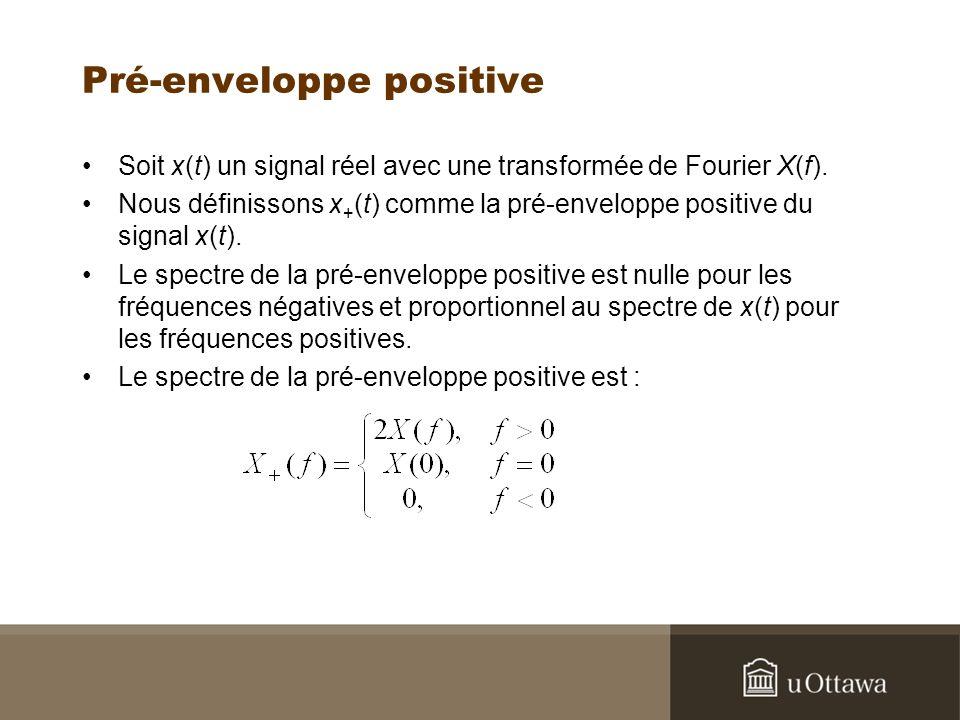 Pré-enveloppe positive Soit x(t) un signal réel avec une transformée de Fourier X(f).
