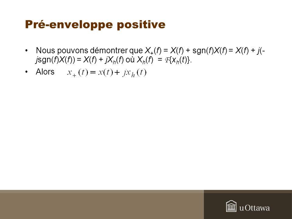 Pré-enveloppe positive Nous pouvons démontrer que X + (f) = X(f) + sgn(f)X(f) = X(f) + j(- jsgn(f)X(f)) = X(f) + jX h (f) où X h (f) = F {x h (t)}.